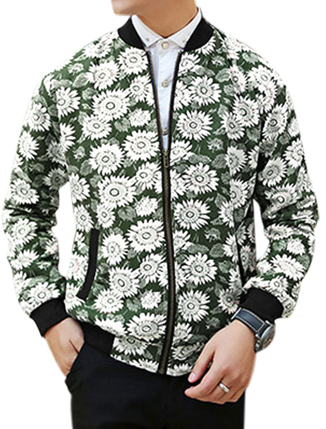 Men Floral Prints Ribbed Trim Two Front Pockets Fashion Jacket Army Green M