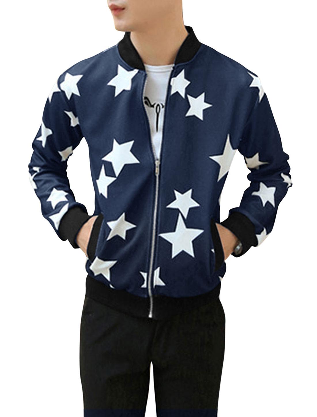 Men Stars Pattern Zip Up Long Sleeve Casual Jacket Navy Blue M