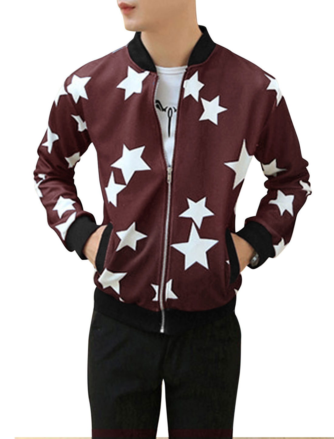 Men Stars Pattern Ribbed Trim Two Pockets Front Fashion Jacket Burgundy M