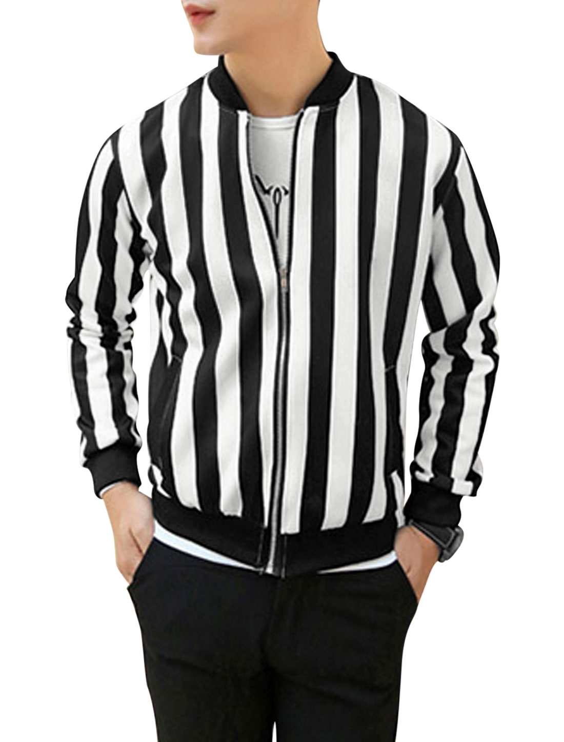 Man White Black Stand Collar Long Sleeves Zippered Front Stripes Jacket M