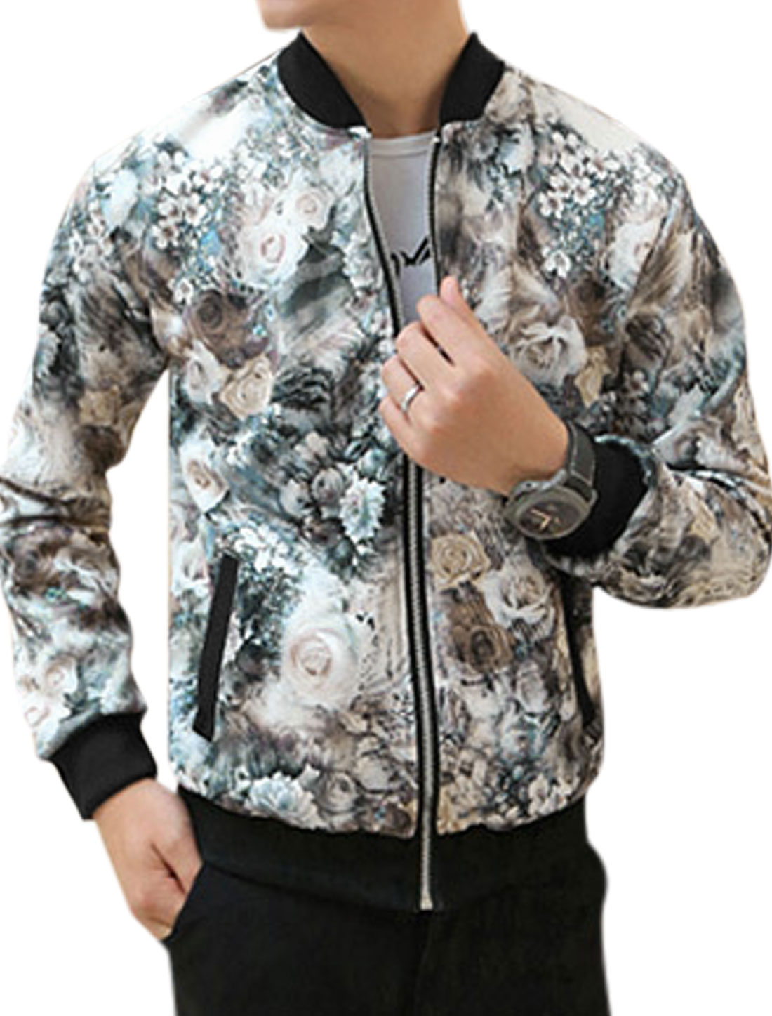 Men Floral Prints Double Slant Pockets Ribbed Hem Jacket Multicolor M