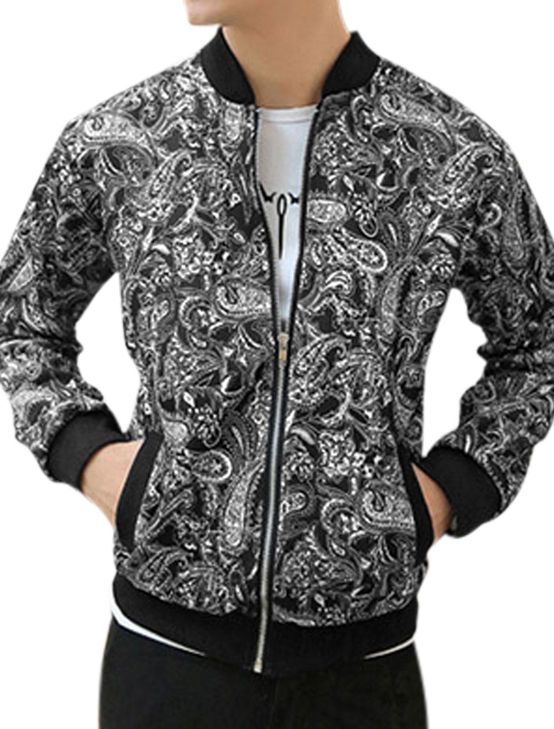 Men Paisleys Prints Zip Up Double Slant Pockets Casual Jacket Black M