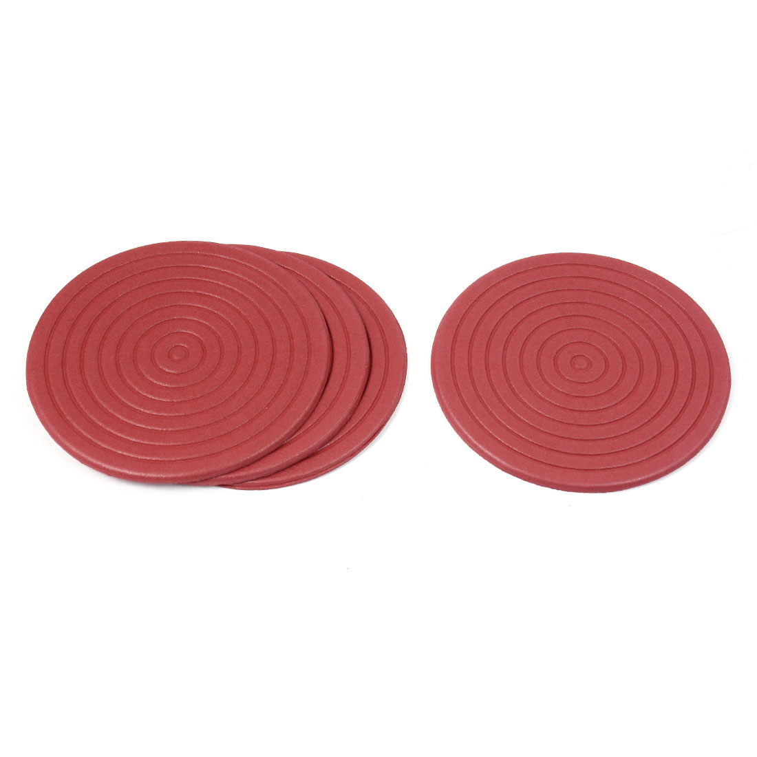 4 Pcs Mosquito Coil Shaped Foam Antislip Heat Resistant Cup Mats Pads Red