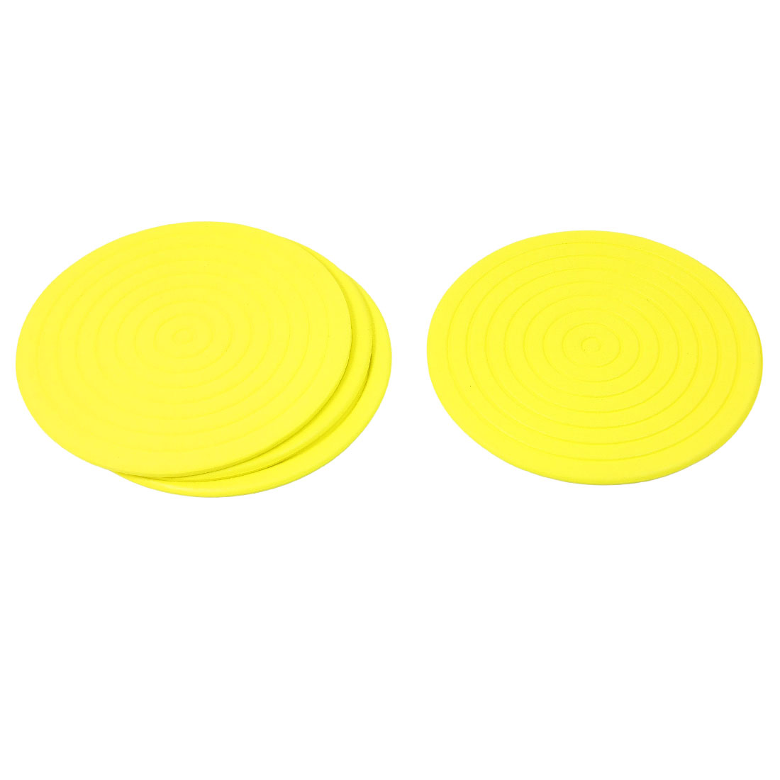 4 Pcs Coil Shaped Foam Antislip Heat Resistant Cup Mats Pads Yellow