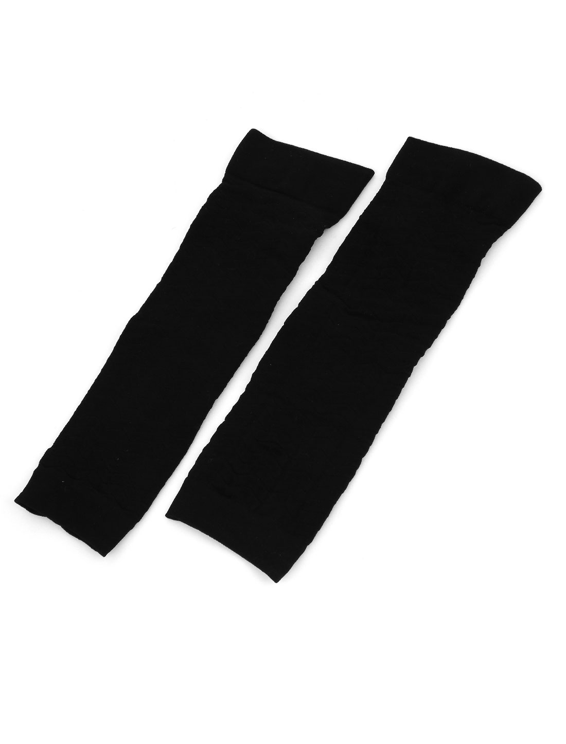 Pair Zig Zag Print Elastic Fingerless Arm Warmers Gloves Black for Women