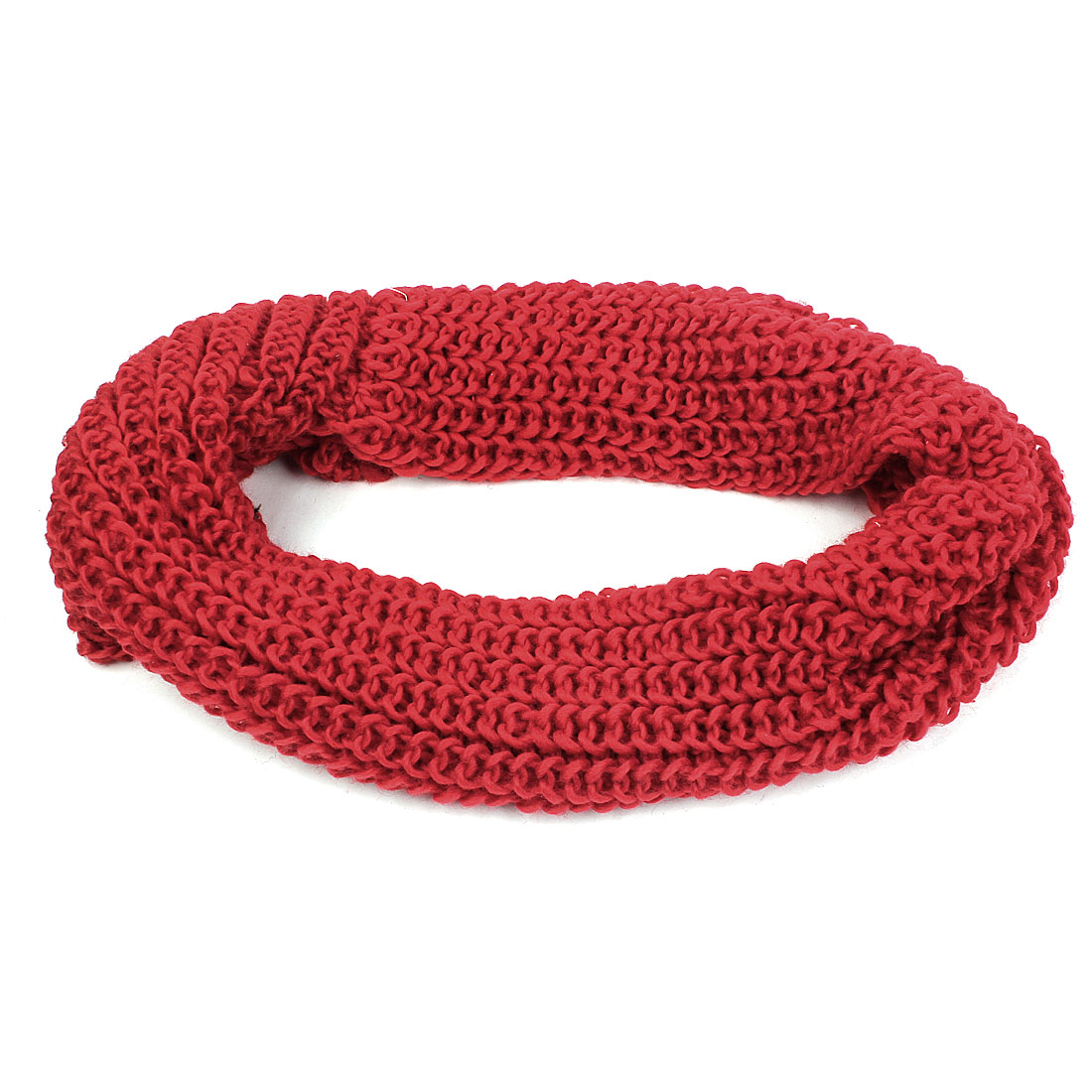 Winter Warm Knitted Scarf Neck Circle Wrap Red for Lady
