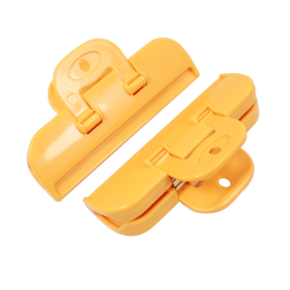 Home Orange Plastic Kitchen Food Storage Seal Bag Clip Clamp 2 Pcs