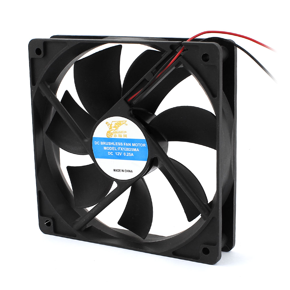 DC 12V 0.25A 120mmx25mm 2 Wires Brushless Computer Case Cooling Fan Cooler Black
