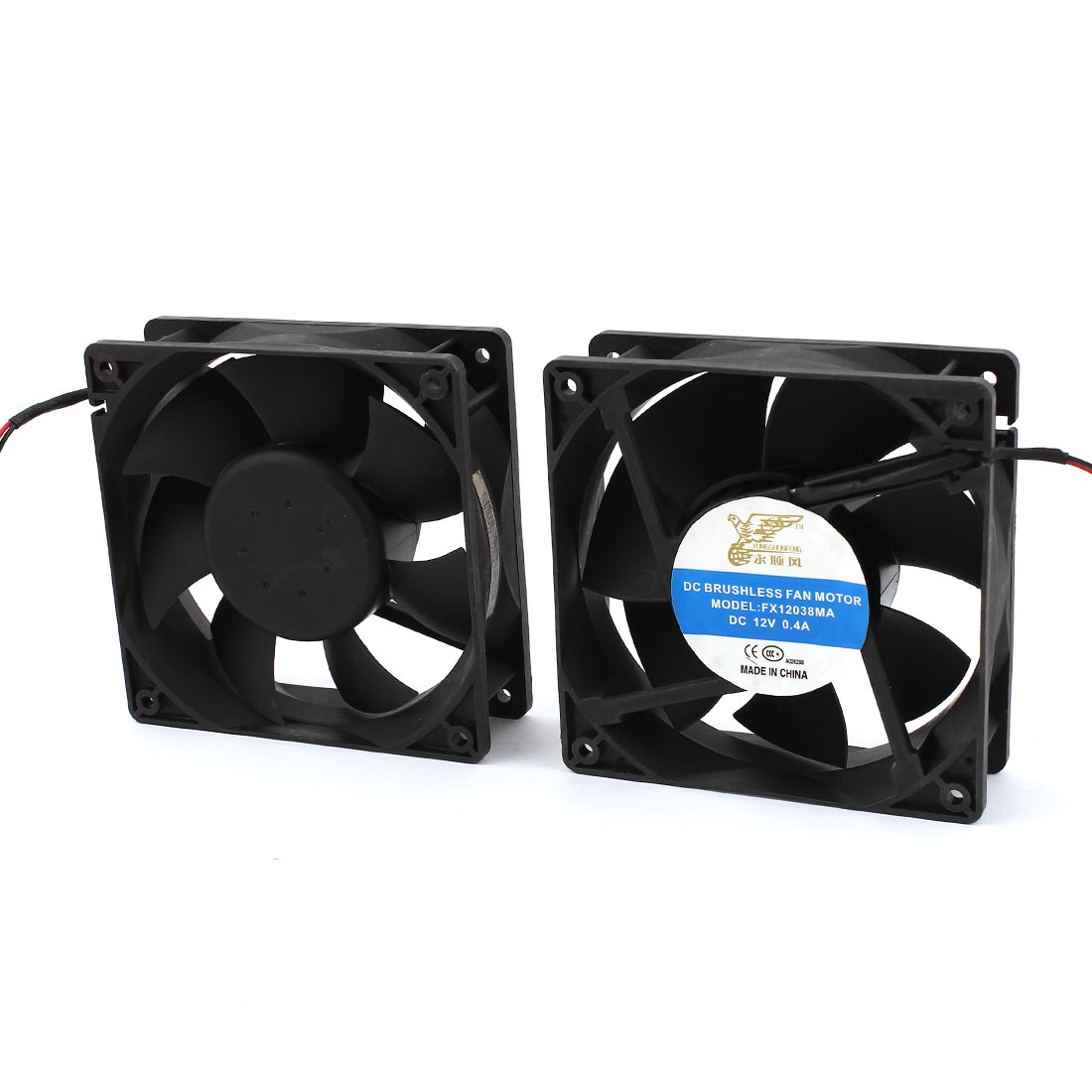 2 Pcs DC 12V 0.4A 120mmx38mm 12038 2-Wire Computer Case Cooling Fan Cooler Black