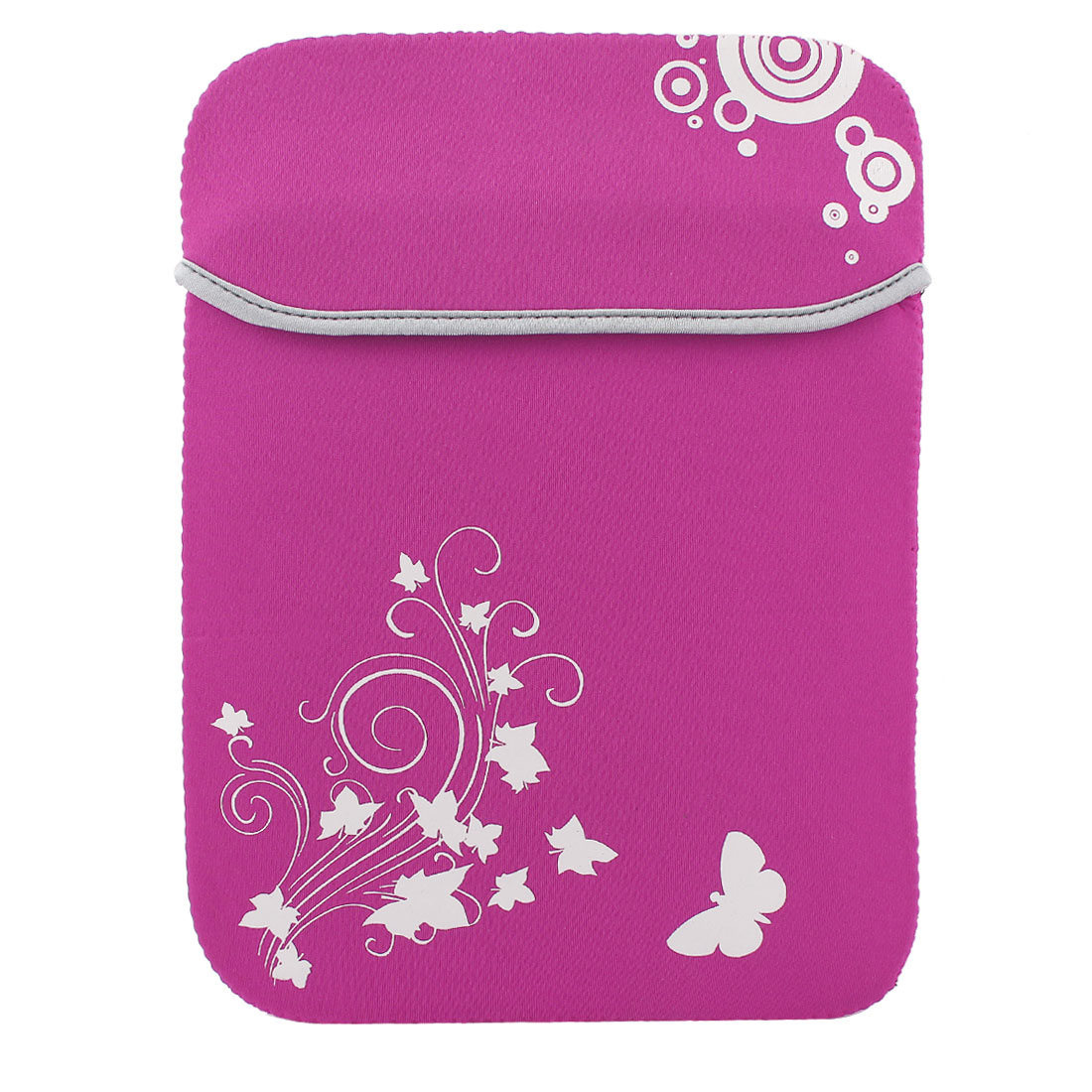 "12"" Flower Butterfly Print Soft PC Laptop Tablet Netbook Sleeve Case Bag Fuchsia"
