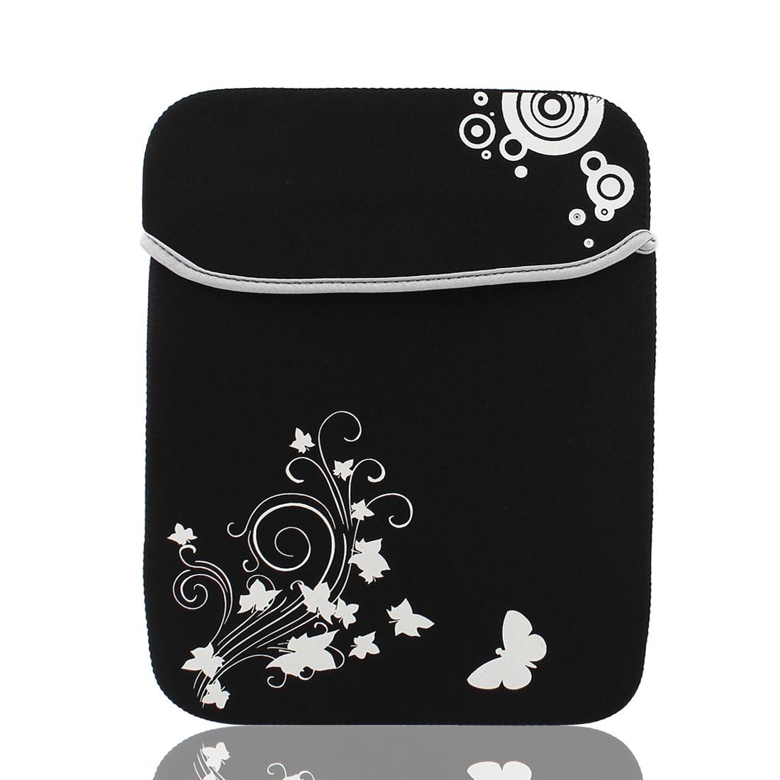 "12"" Flower Butterfly Pattern Soft PC Laptop Tablet Netbook Sleeve Case Bag Black"