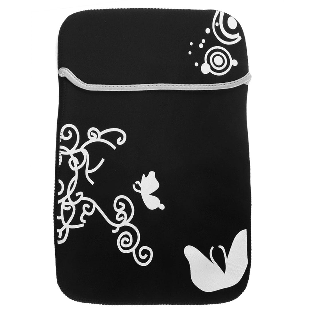 "13"" Flower Butterfly Pattern Soft PC Laptop Tablet Netbook Sleeve Case Bag Black"
