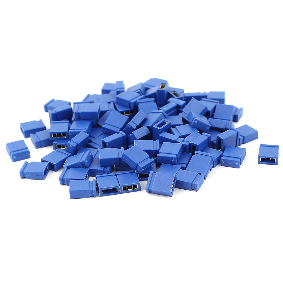 100 Pcs 2.54mm Pitch Circuit Board Shunts Short Jumper Cap Blue