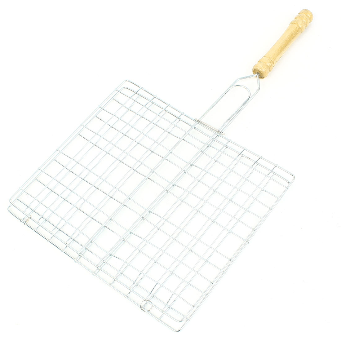21.5 x 19 cm Outdoor Nonslip Wood Grip Rectangular Grill Net Barbecue Clamp