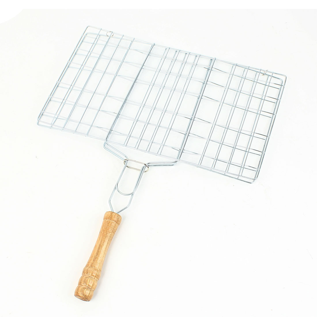 31.5 x 19 cm Outdoor Nonslip Wood Grip Rectangular Grill Net Barbecue Clamp