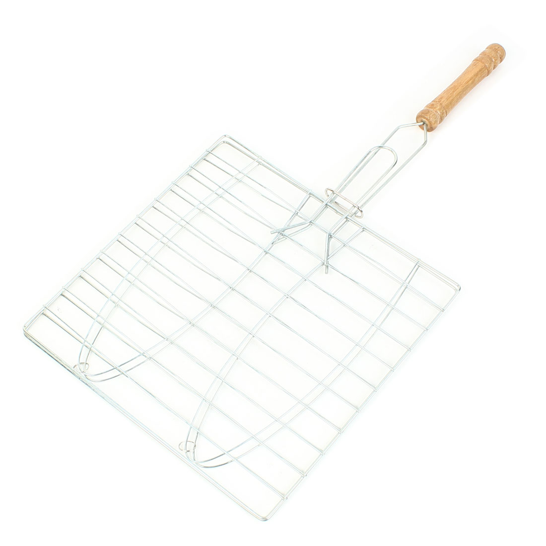 22 cm x 22 cm Outdoor Nonslip Wood Grip Rectangular Grill Net Barbecue Clamp