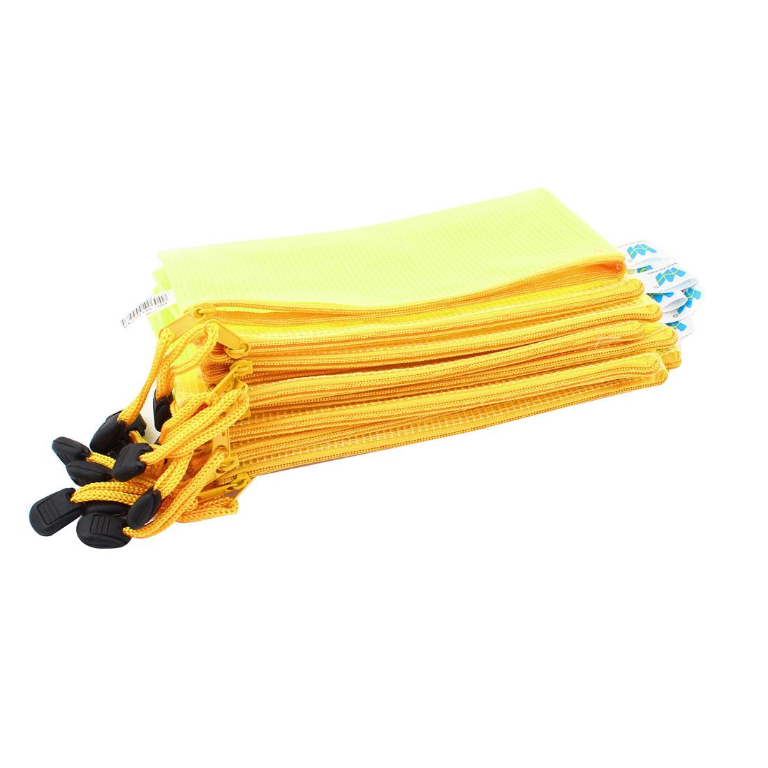 12 Pcs 18.5 x 11cm Student Office Zip Up Mesh Plastic File Storage Bag Yellow