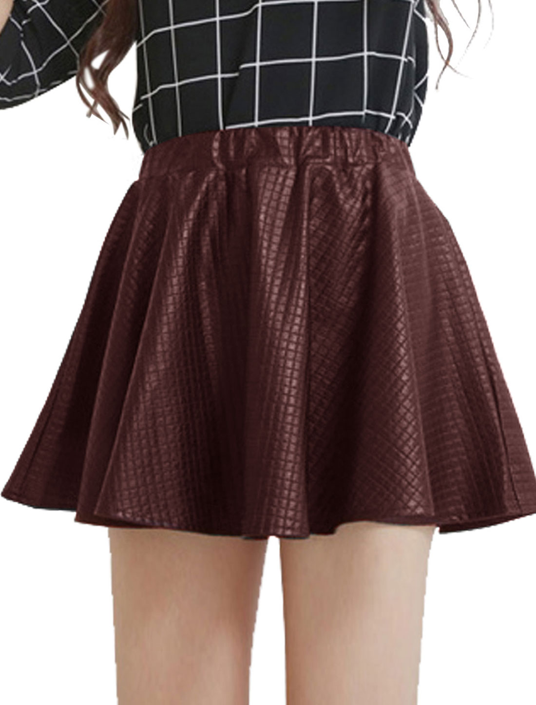 Lady Stretchy Waist Mini Imitation Leather Skirt Burgundy XS
