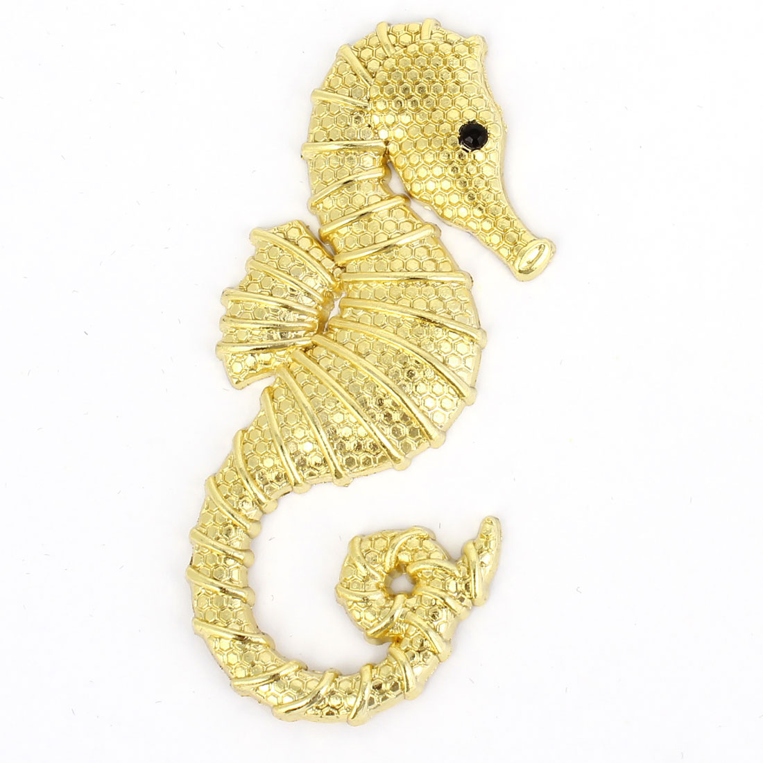 Car Gold Tone Sea Horse Shaped Adhesive Emblem Badge Sticker