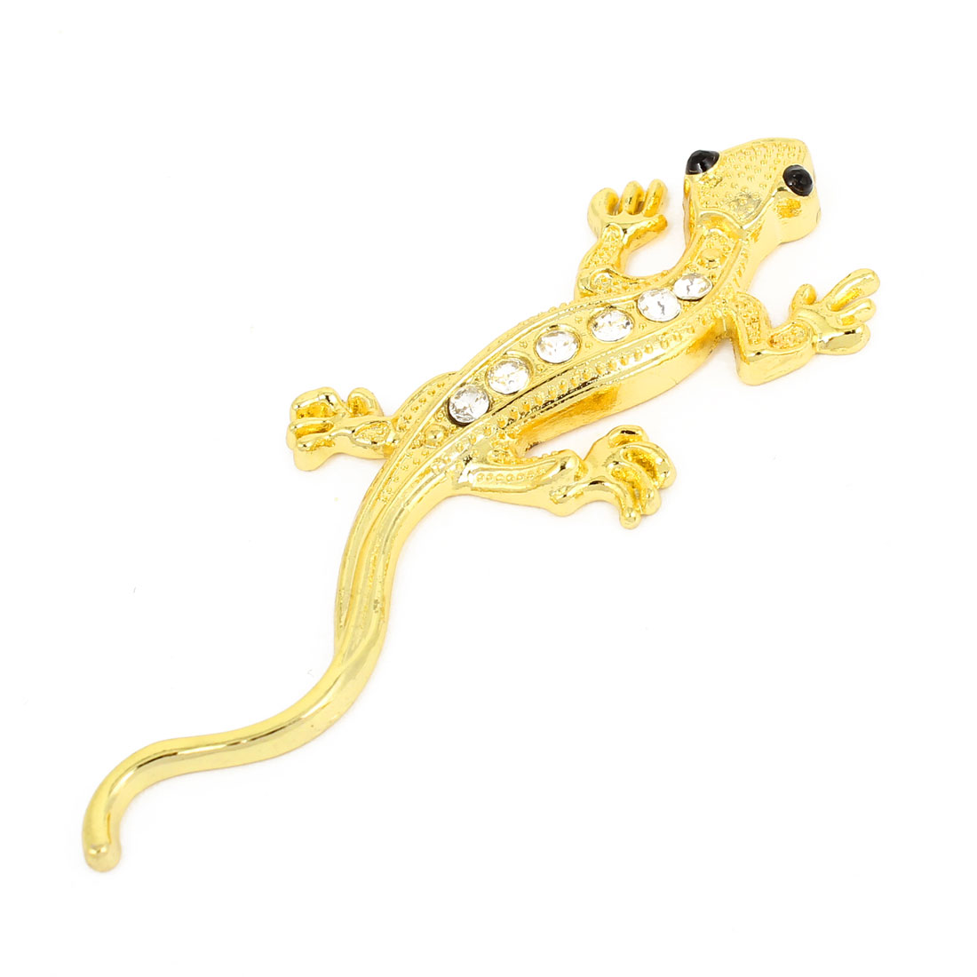 Car Gold Tone Wall Gecko Design Rhinestone Decor Adhesive Emblem Badge Sticker