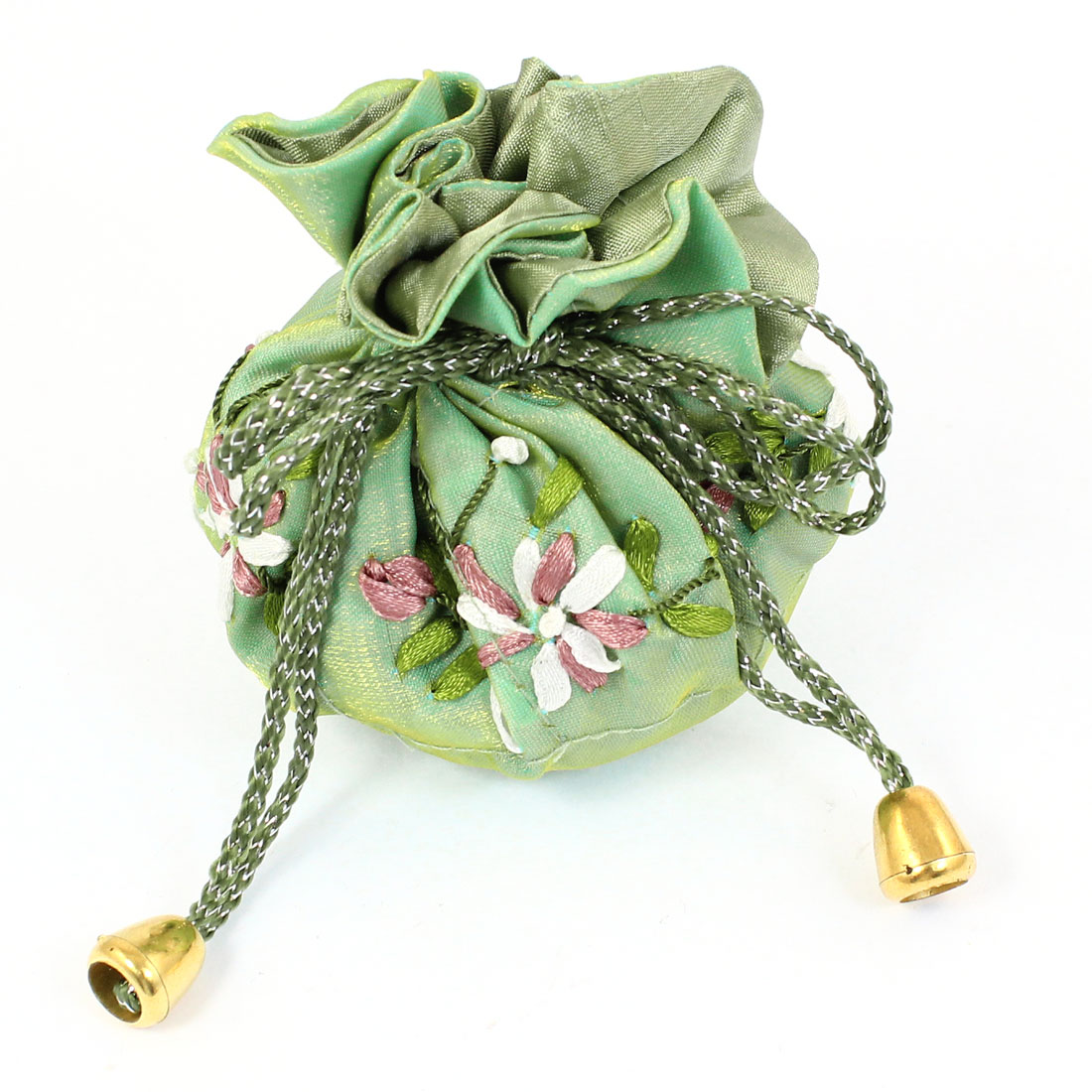 Light Green Flower Printed Polyester Jewelry Birthday Gift Bags