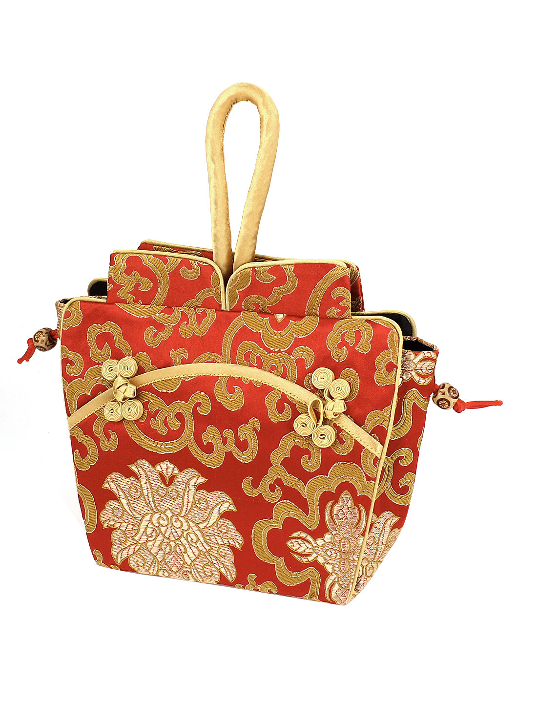 Chinese Classical Elements Decor Red Brocade Handbag Tote Bag for Lady Women