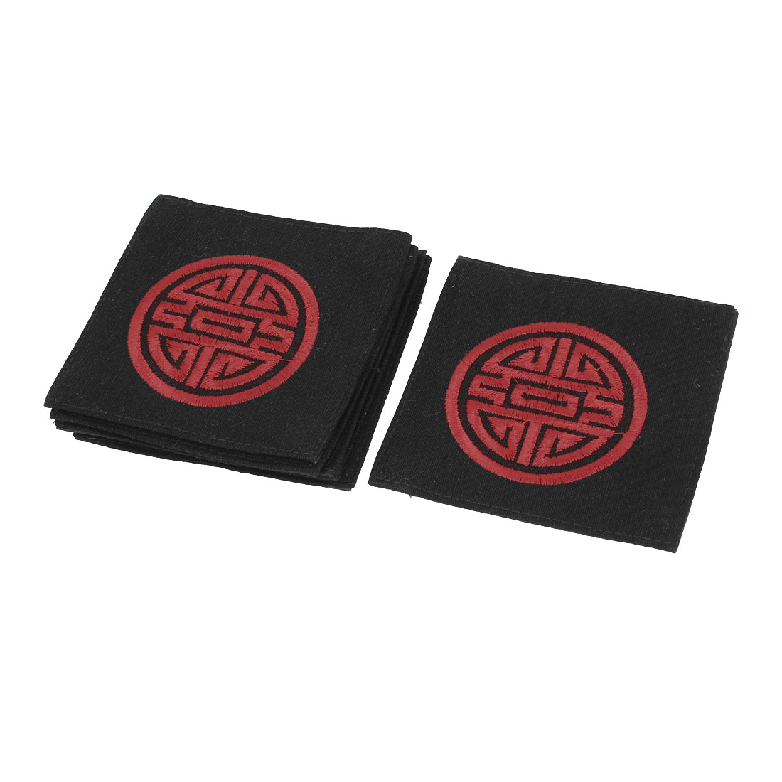 6 Pcs Heat Resistant Mat Cup Mug Classical Chinese Style Cushion Placemat Pad Black Red