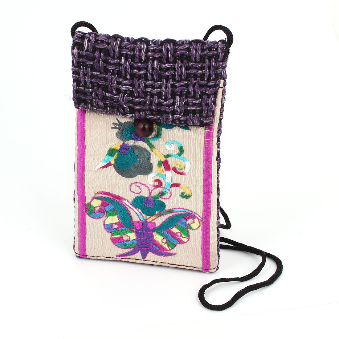 Purple knitting Hand Strap Pocket Pouch Cover Bag for Mp4 Smartphone