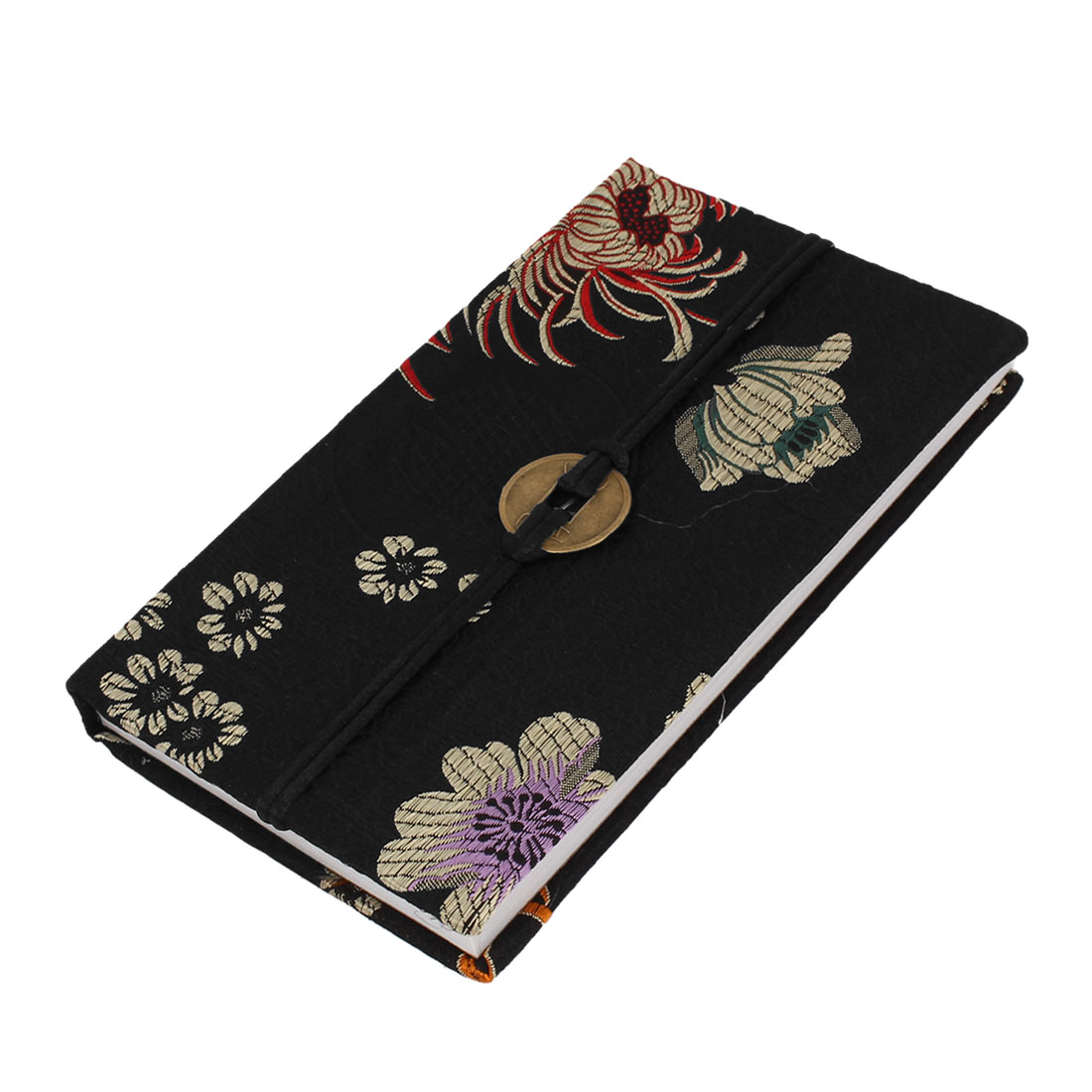 Chrysanthemum Print Black Brocade Surface Cover 60 Pages Record Notebook Diary