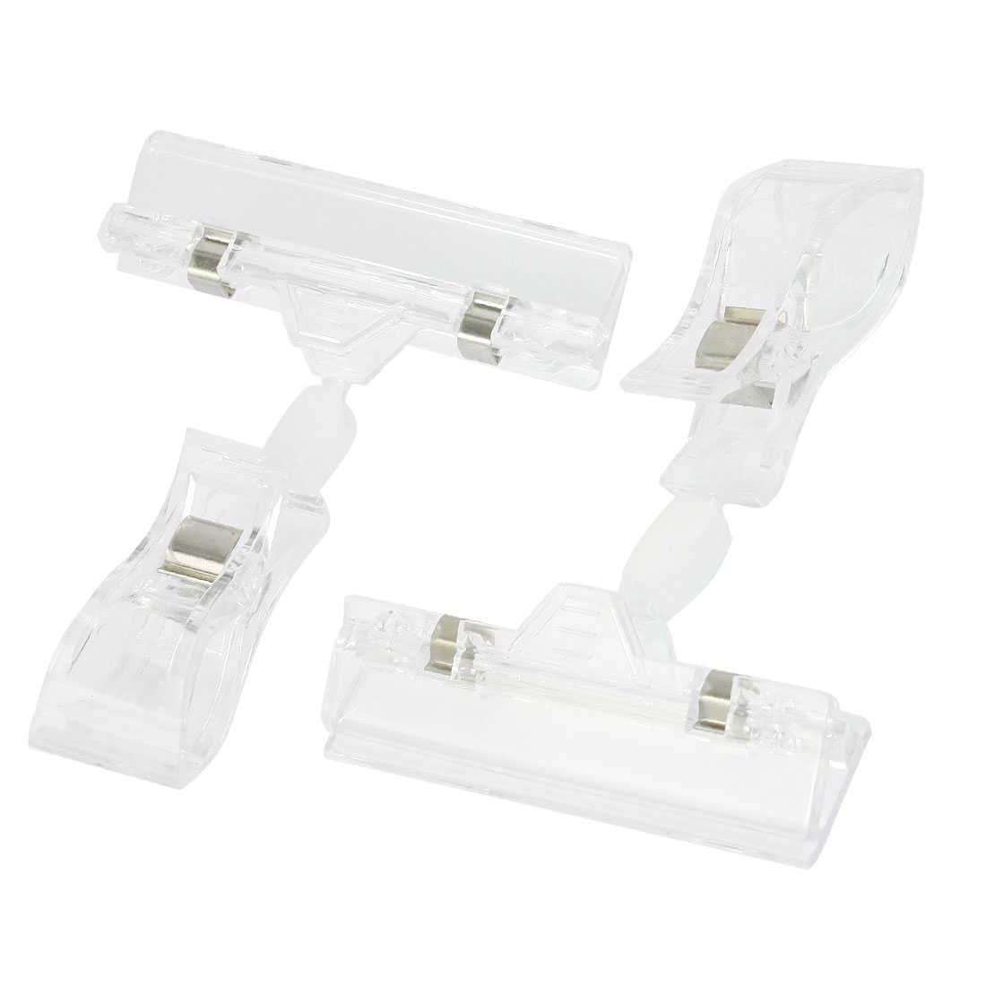 2 Pcs Double End Retail Stores Clear Advertising Display Pop Sign Clips Clamp