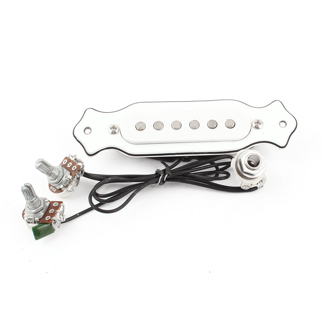 Volum Tone Adjustment Magnetic 6 String Acoustic Electric Guitar Pickup White