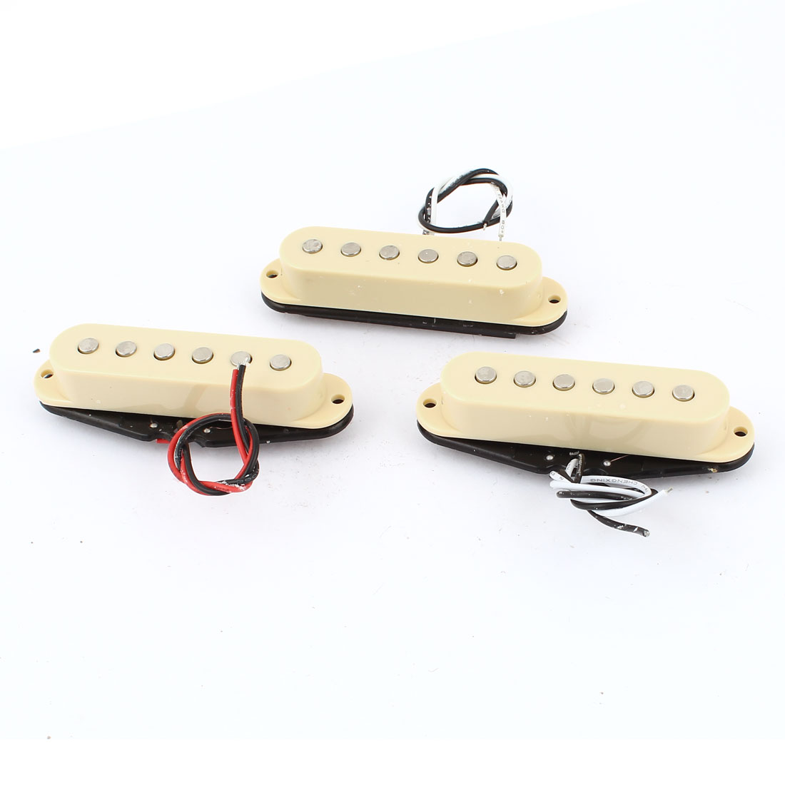 3 Pcs Single Coil Magnetic Acoustic Electric Guitar Pickup Beige Black