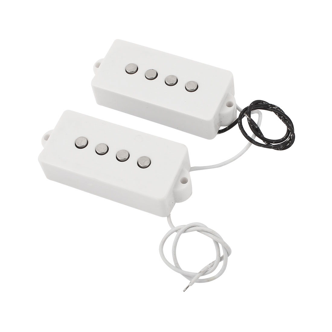 2pcs Electric 4 String Bass Neck Bridge Opened Pickups White