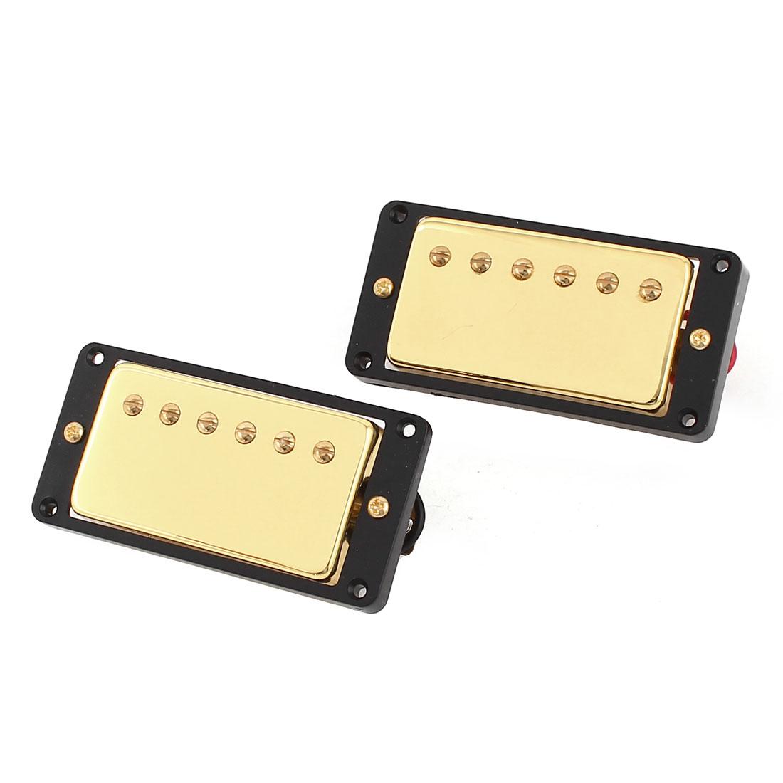 2 Pcs Electric Guitar LP Neck Bridge Pickups Black Gold Tone