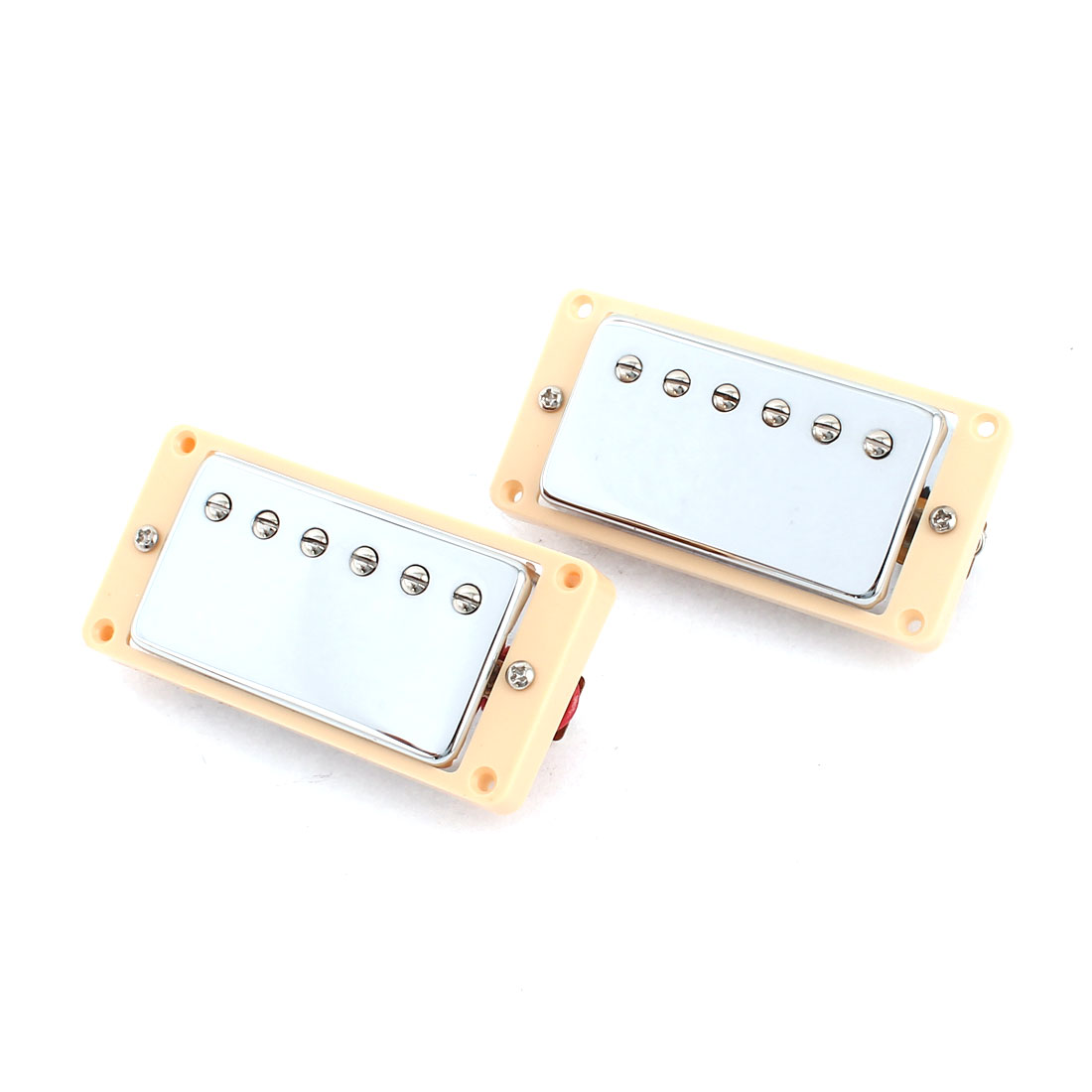 2 Pcs Electric Guitar LP Neck Bridge Pickups Beige Silver Tone