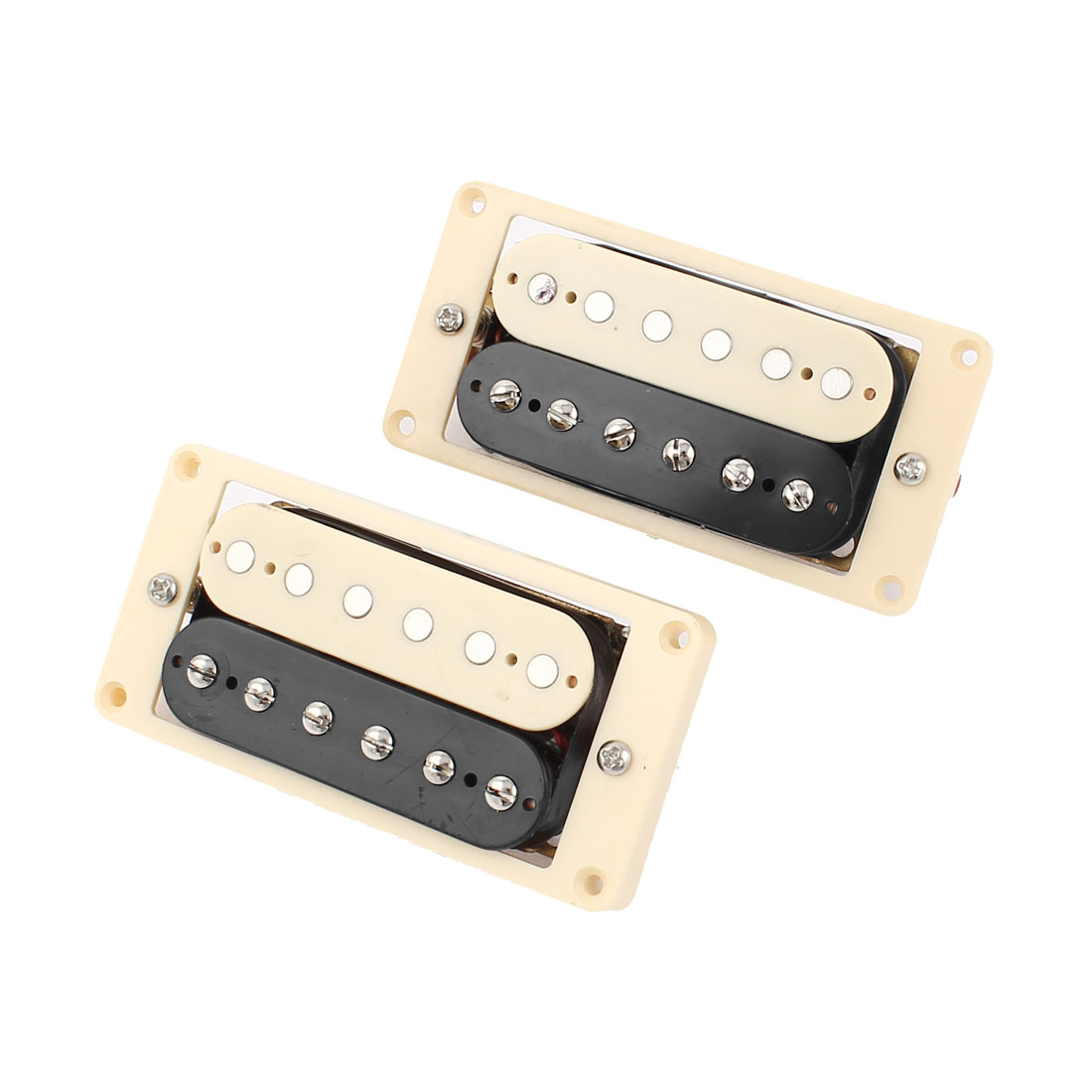 2 Pcs Electric Guitar ST Double Row Neck Bridge Pickups Black Beige