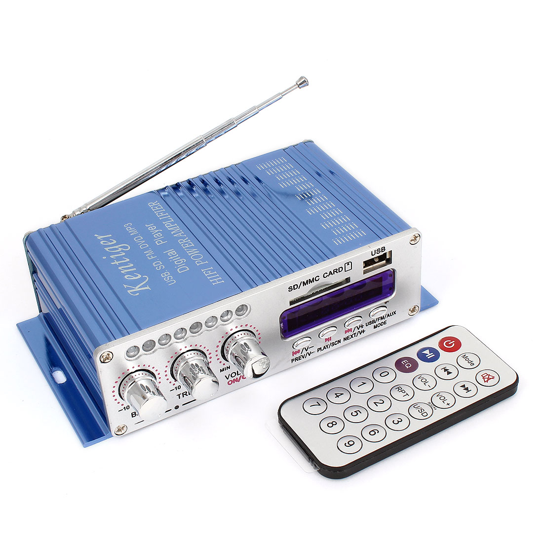 Car 40W DC 12V Hifi Stereo Audio Power Amplifier Blue w Remote Control
