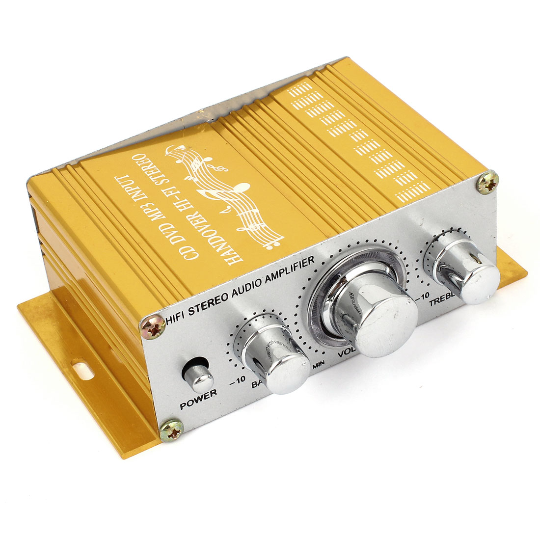 Car Gold Tone Aluminum Mini Hifi Stereo Audio Power Amplifier 40W