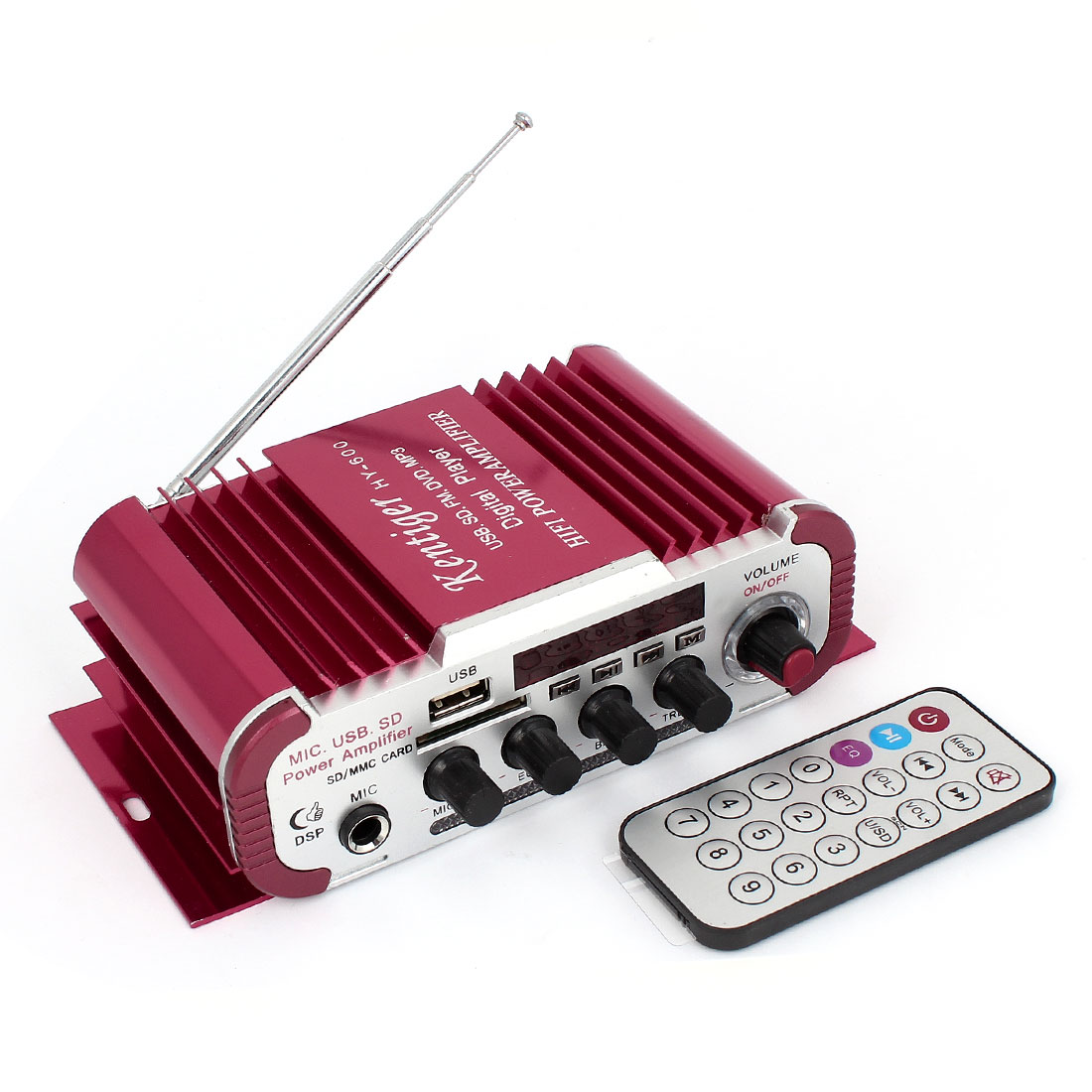 DC 12V 30W USB SD FM MP3 Motorcycle Car Stereo Audio Amplifier Red