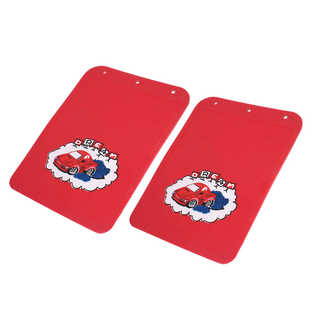 2 Pcs Car Pattern Rubber Splash Mudguard Red 32cm x 24cm