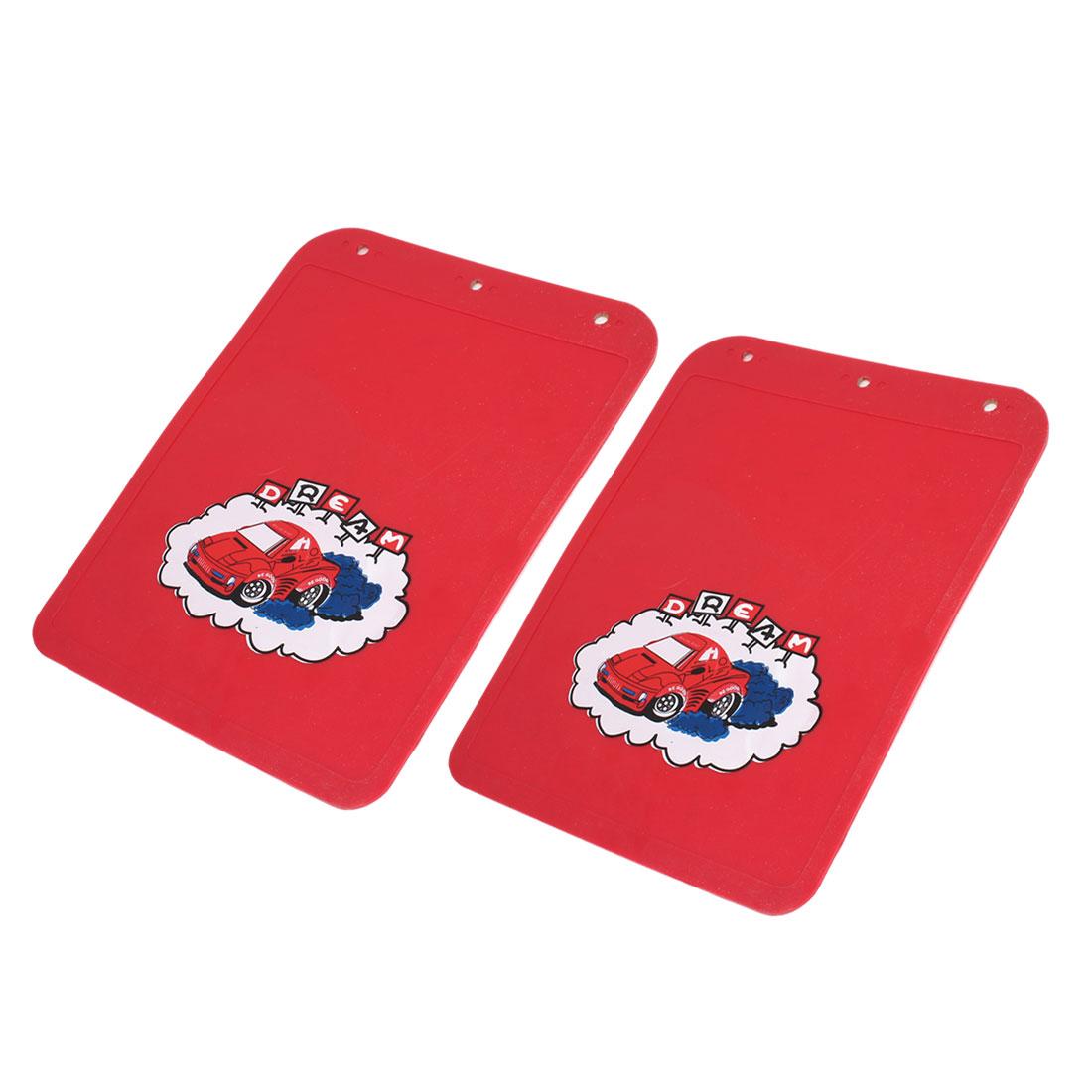 2 Pcs Car Pattern Rubber Splash Mudguard Red 32cm x 24cm