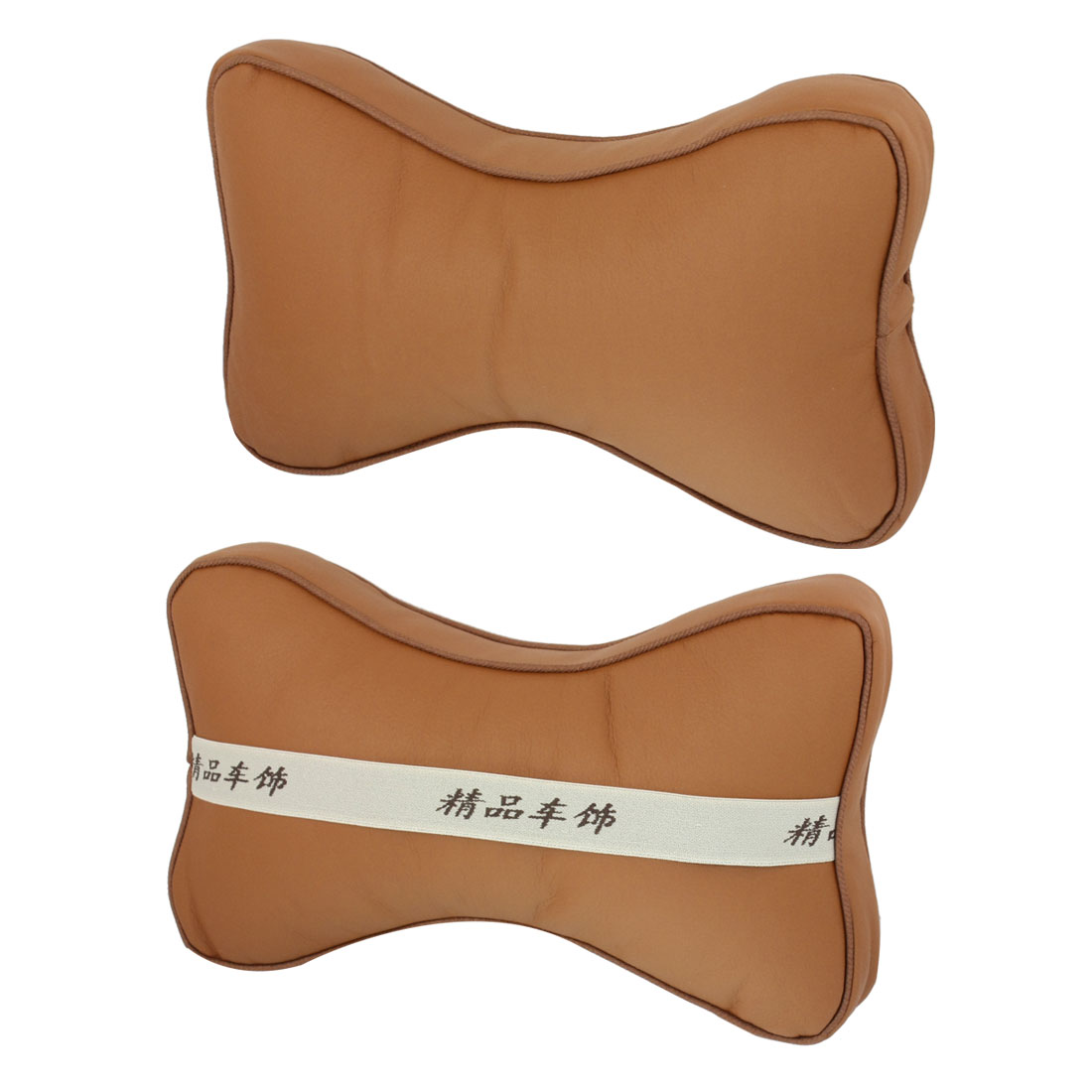 Pair Truck Brown Faux Leather Surface Head Massage Support Cushion Pad Pillows