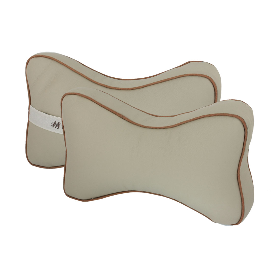 2 Pcs Auto Car Vehicle Faux Leather Bone Shape Head Neck Pillow Cushion Beige