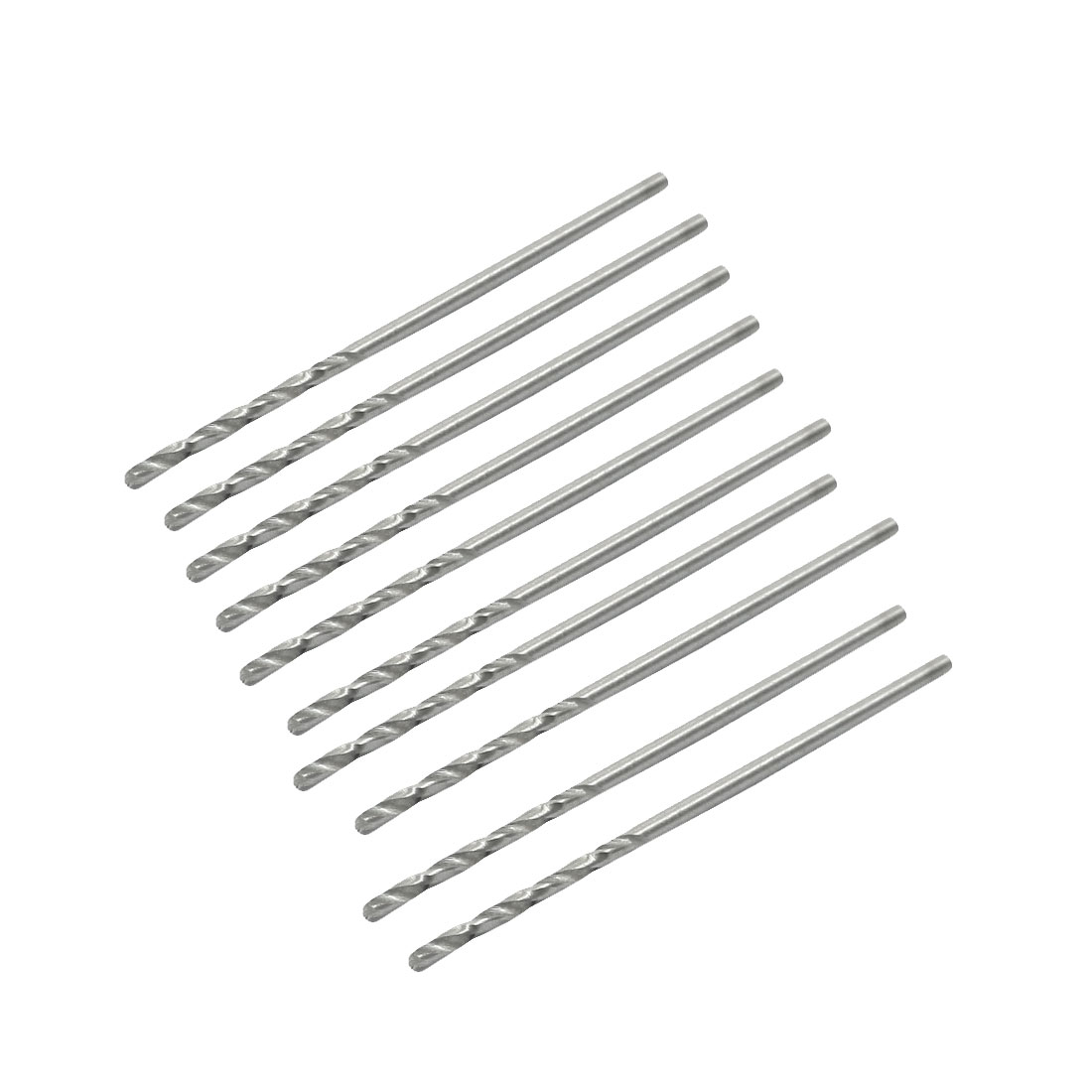 10 Pcs Silver Gray HSS 1.1mm Dia 37mm Long Spiral Flute Twist Drilling Bits