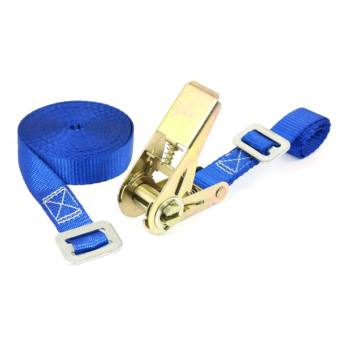 Travel Luggage Binding Adjustable Metal Ratchet Tie Down Strap 5M 16ft Blue