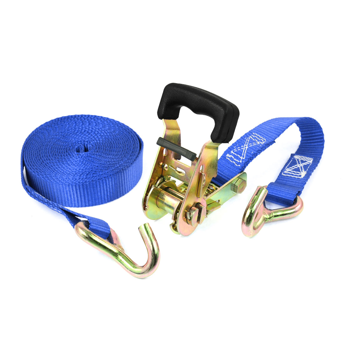 Truck Cargo Binding Metal Hook Ratchet Tie Down Strap 5M 16ft Blue