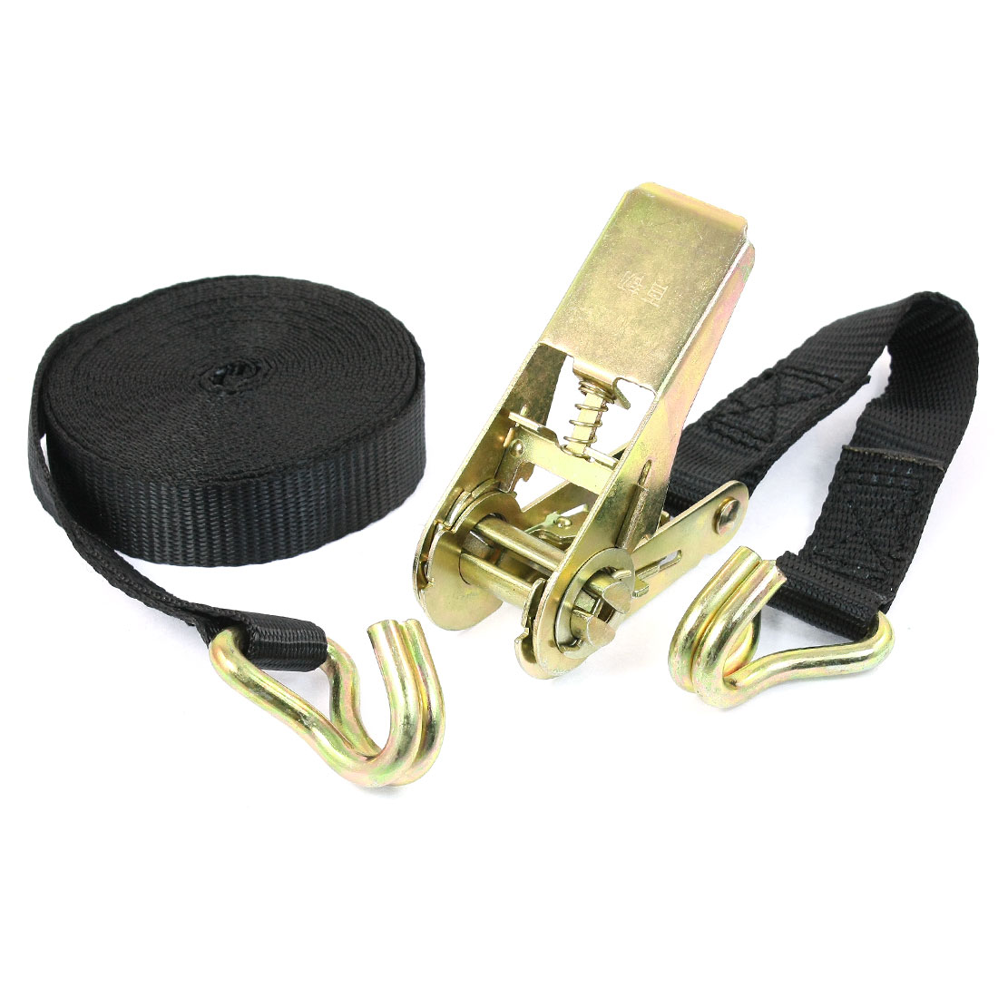 Dual Metal Hooks Cargo Binding Band Ratchet Tie Down Strap 5M 16ft Black
