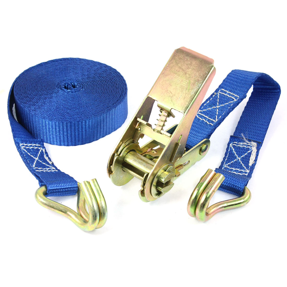Dual Metal Hooks Cargo Binding Band Ratchet Tie Down Strap 5M 16ft Blue