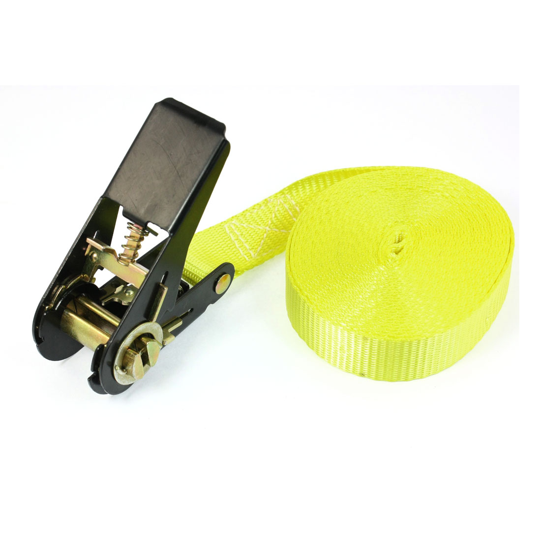 Travel Cargo Binding Band Black Ratchet Tie Down Strap 5M 16ft Yellow