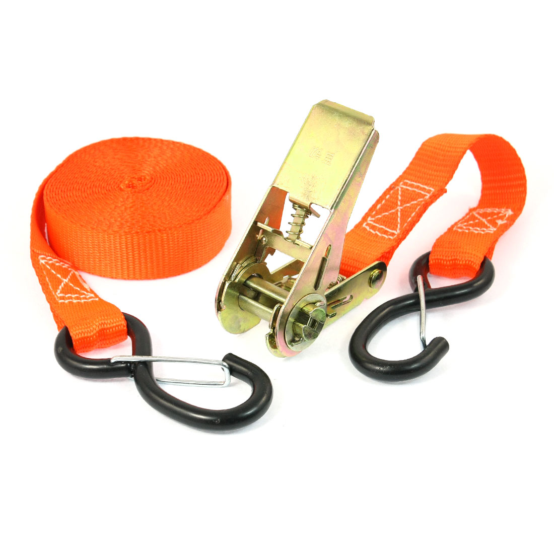 S Shape Metal Hook Cargo Binding Band Ratchet Tie Down Strap 5M 16ft Orange